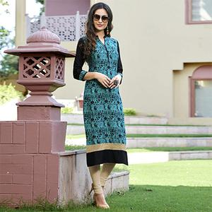 Alluring Turquoise Blue Colored Casual Printed Cotton Kurti