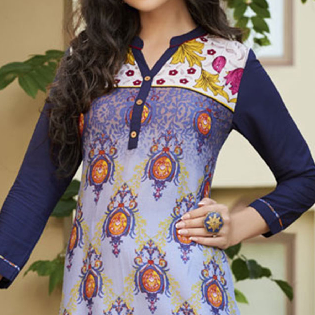 Pretty Purple Colored Casual Printed Cotton Kurti
