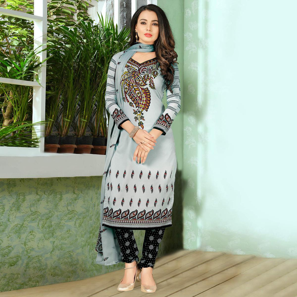 14f59fe3be Buy Trendy Grey Designer Printed Casual Wear Crepe Dress Material Online  India, Best Prices, Reviews - Peachmode