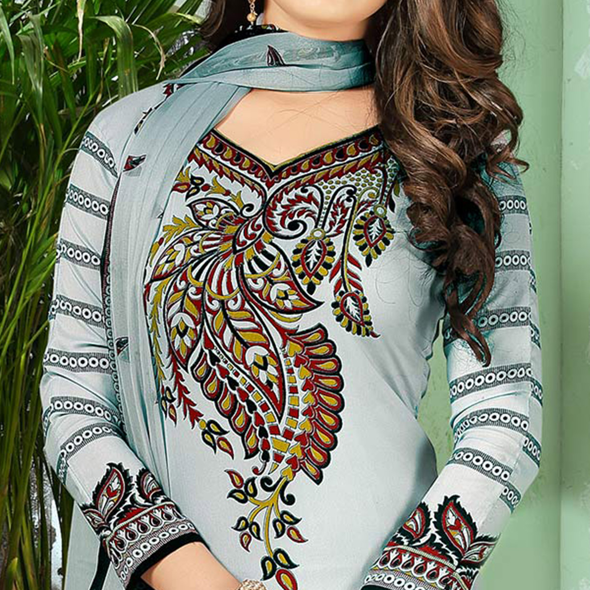 Trendy Grey Designer Printed Casual Wear Crepe Dress Material