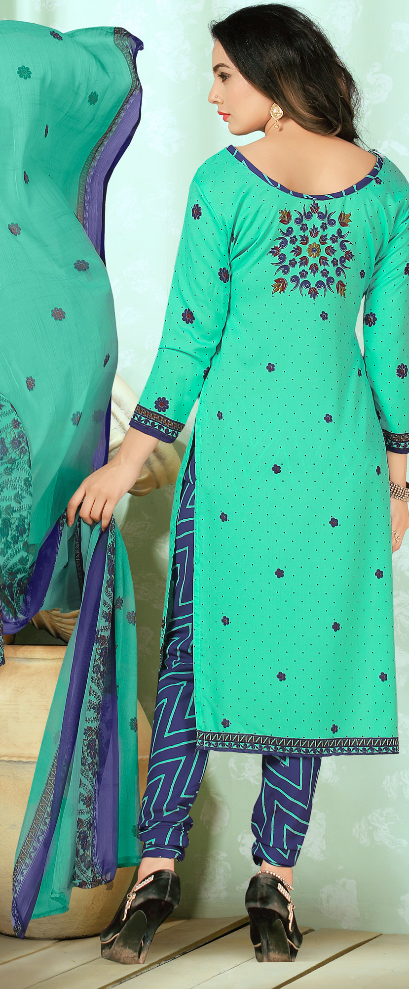 Lovely Turquoise Designer Printed Casual Wear Crepe Dress Material