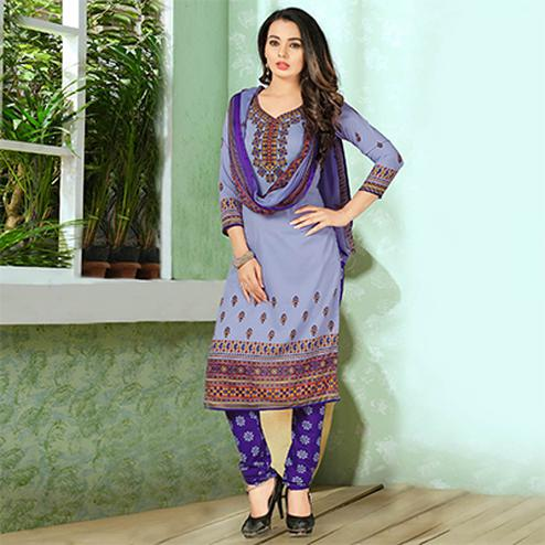 Pleasant Purple Designer Printed Casual Wear Leon Crape Dress Material