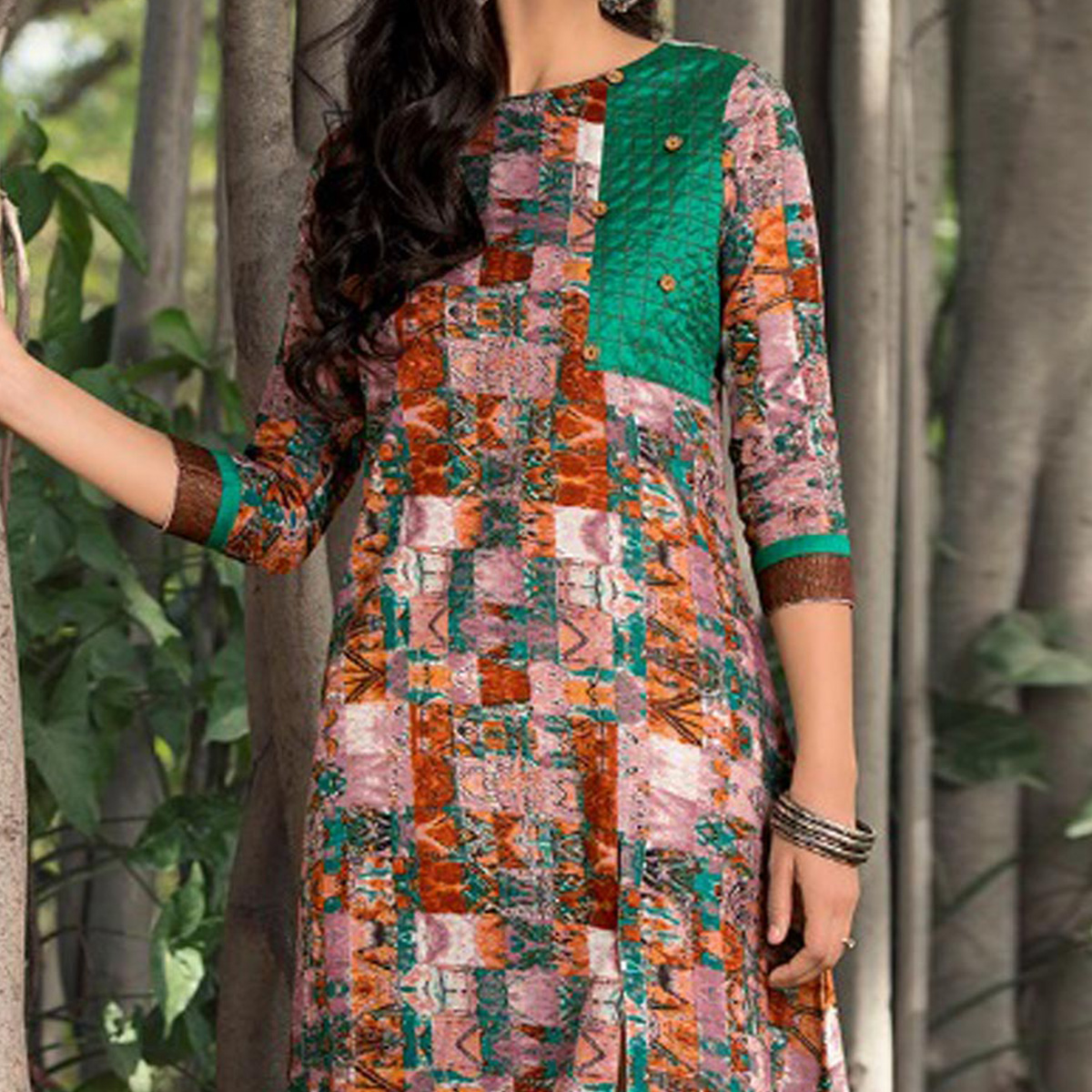 Multicolored Fancy Printed Kurti with Front Slit