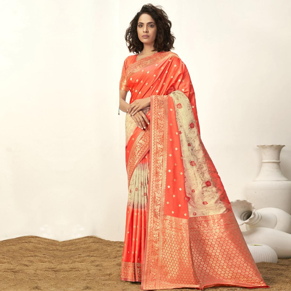 Triveni Orange & Golden Colored Art Silk Party Wear Solid Woven Saree With Blouse Piece