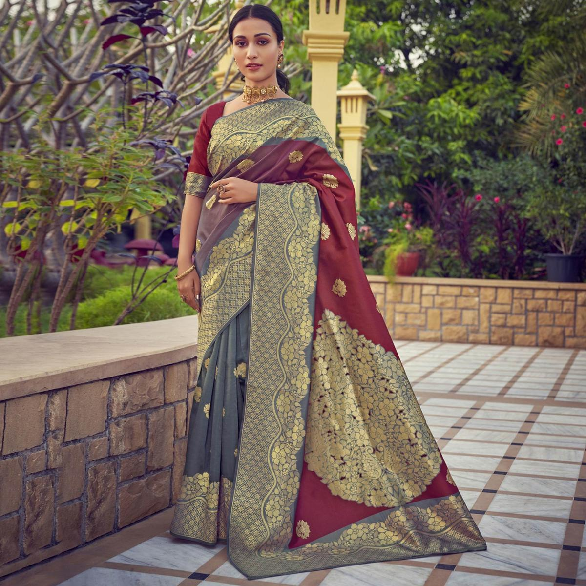 Triveni Maroon & Grey Colored Art Silk Party Wear Jacquard Woven Saree With Blouse Piece