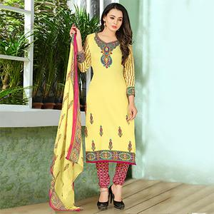 Gorgeous Yellow Designer Printed Casual Wear Leon Crape Dress Material