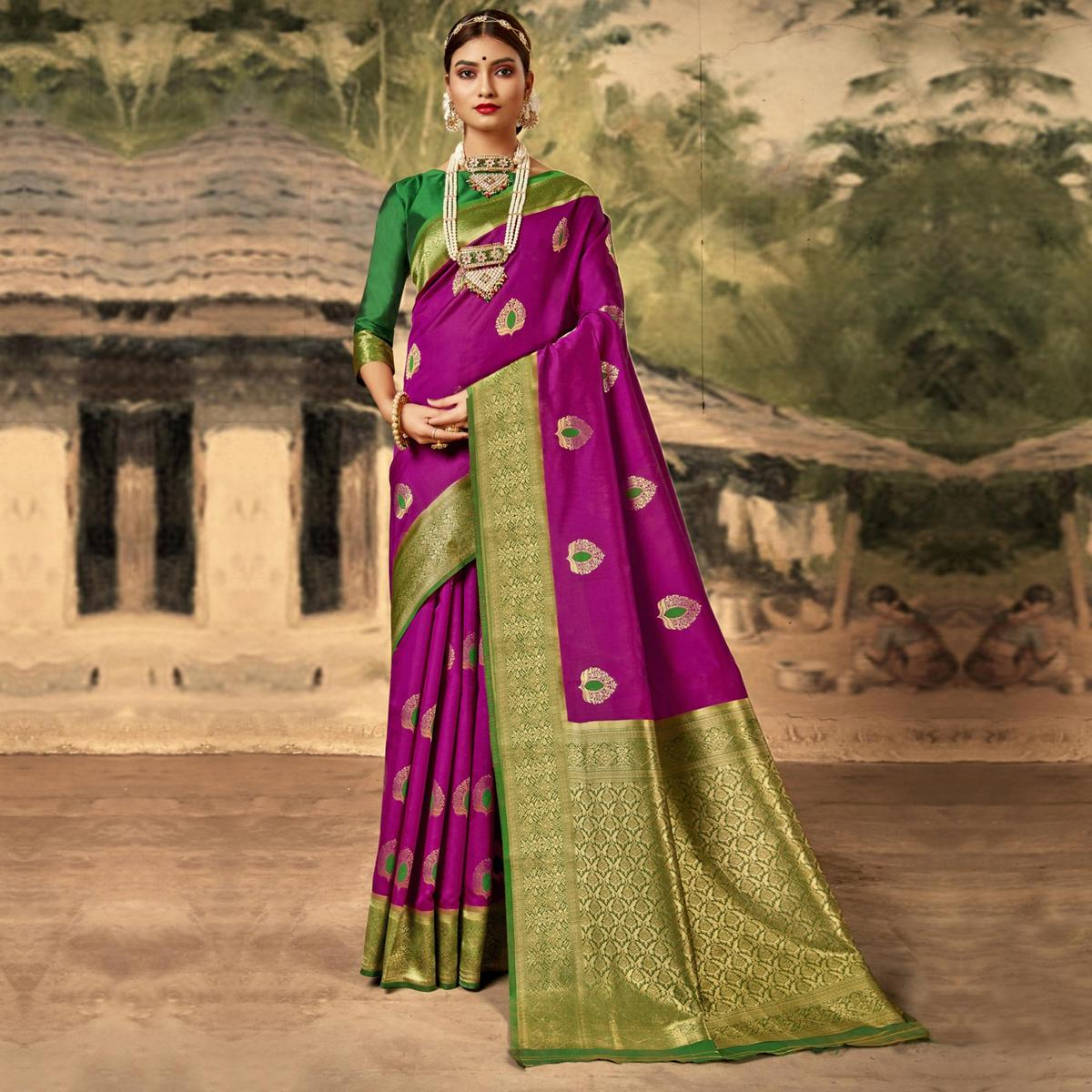 Triveni Magenta Colored Silk Party Wear Jacquard Woven Hand Work Saree With Blouse Piece