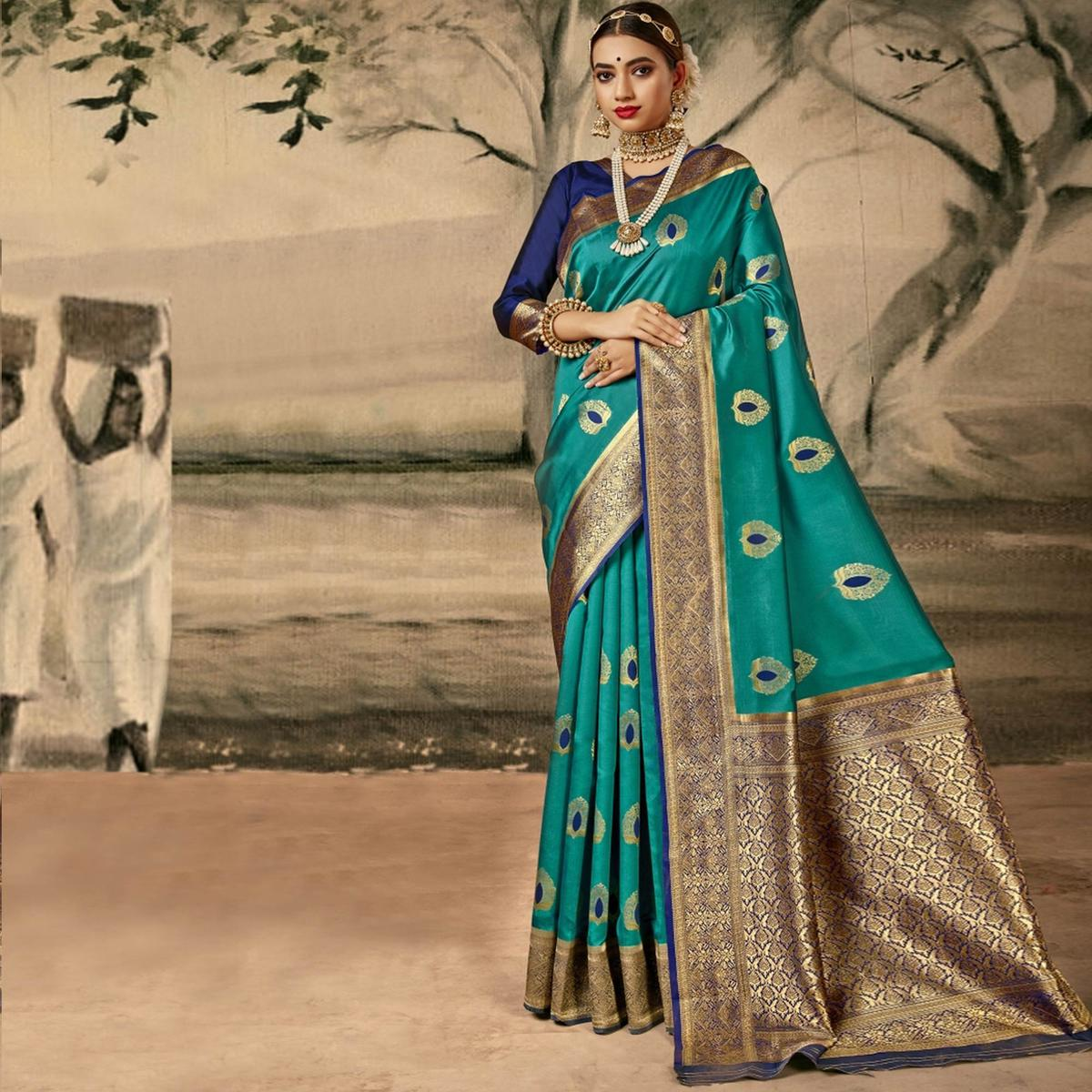 Triveni Turquoise Colored Silk Party Wear Jacquard Woven Hand Work Saree With Blouse Piece