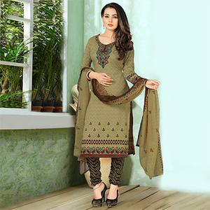Unique Dark Beige Designer Printed Casual Wear Leon Crape Dress Material