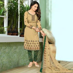 Pleasant Beige Designer Printed Casual Wear Leon Crape Dress Material