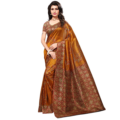 Beautiful Mustard Yellow Colored Printed Festive Wear Bhagalpuri Silk Saree