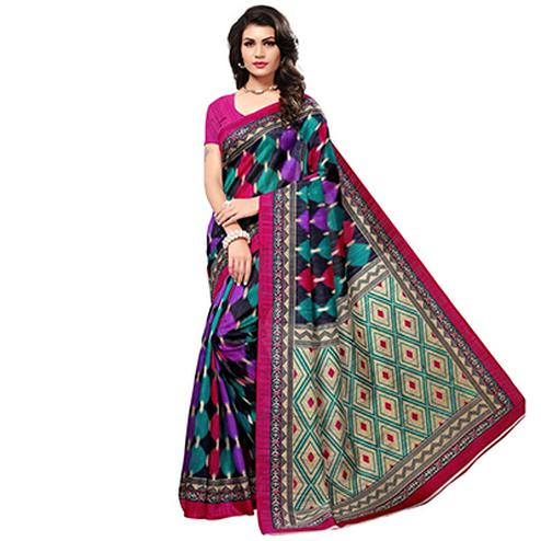 Lovely Multi Colored Printed Festive Wear Bhagalpuri Silk Saree
