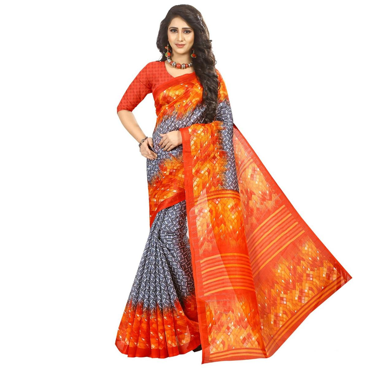 Gorgeous Gray Colored Printed Festive Wear Bhagalpuri Silk Saree