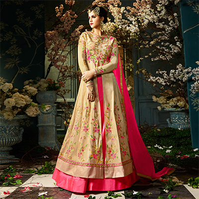 Groovy Pink-Beige Colored Designer Embroidered Tapeta Silk Lehenga Kameez