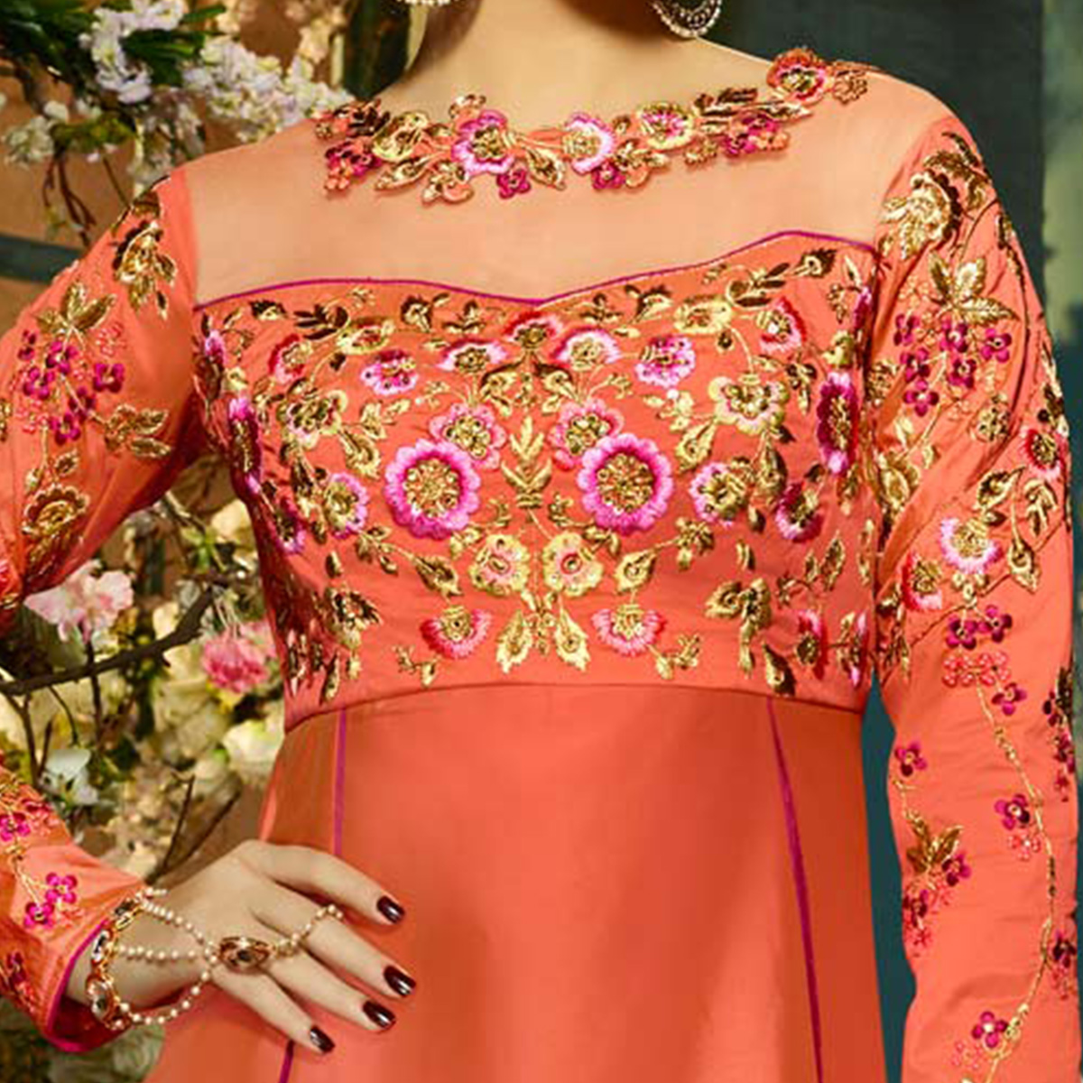 Engrossing Orange-Pink Colored Designer Embroidered Tapeta Silk Lehenga Kameez