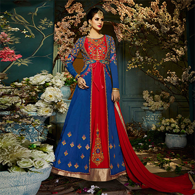 Refreshing Royal Blue-Red Colored Designer Embroidered Tapeta Silk Lehenga Kameez