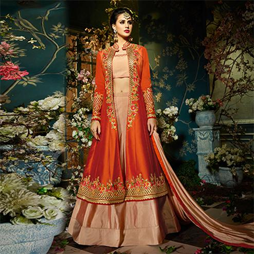 Breathtaking Floral Work Orange-Peach Designer Embroidered Tapeta Silk Lehenga Kameez