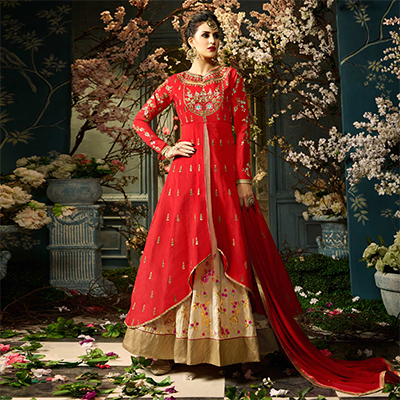 Mystic Lipstick Red-Cream Colored Designer Embroidered Tapeta Silk Lehenga Kameez