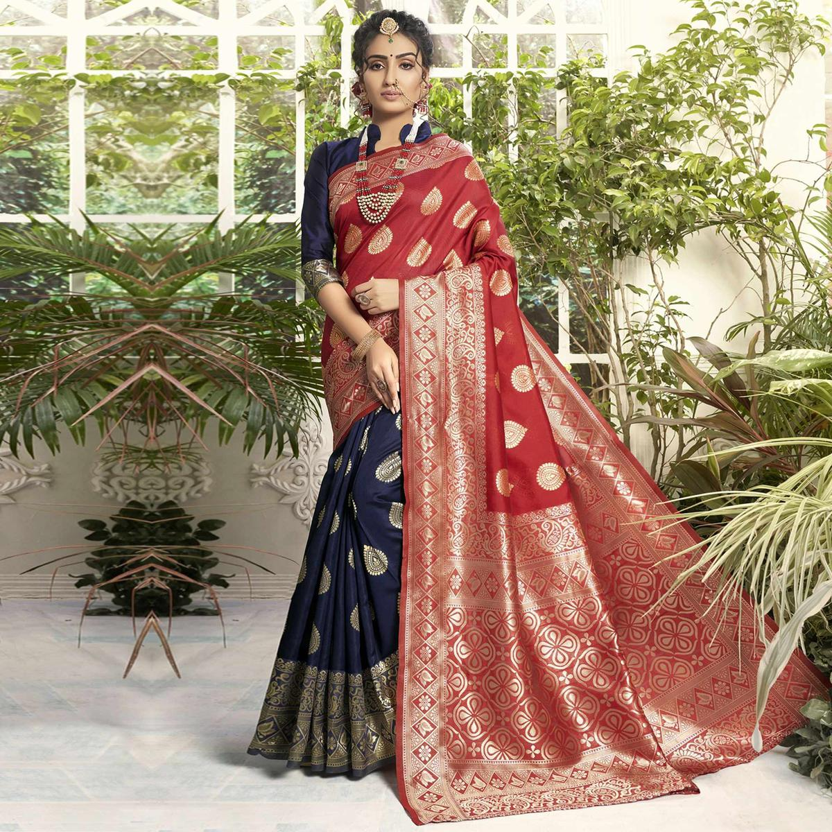 Triveni Navy Blue & Red Colored Jacquard Silk Party Wear Jacquard Woven Saree With Blouse Piece