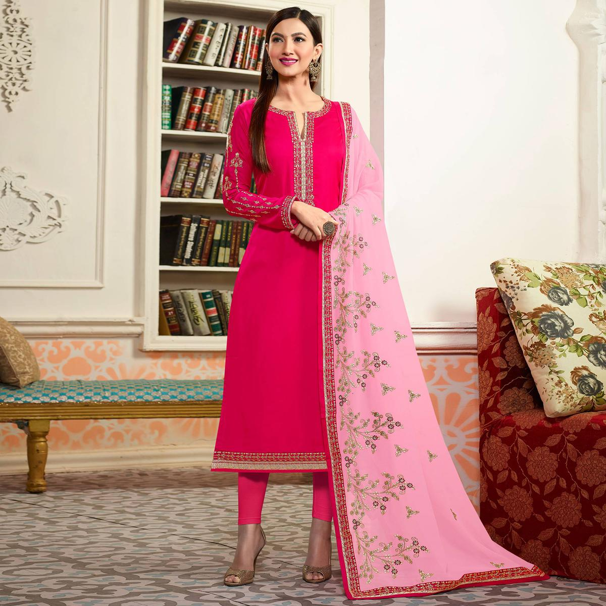 Buy Pink Embroidered Party Wear Georgette Salwar Suit for womens ...