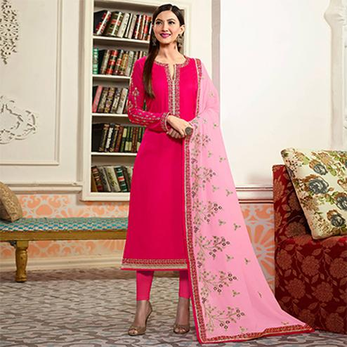 Pink Embroidered Party Wear Georgette Salwar Suit