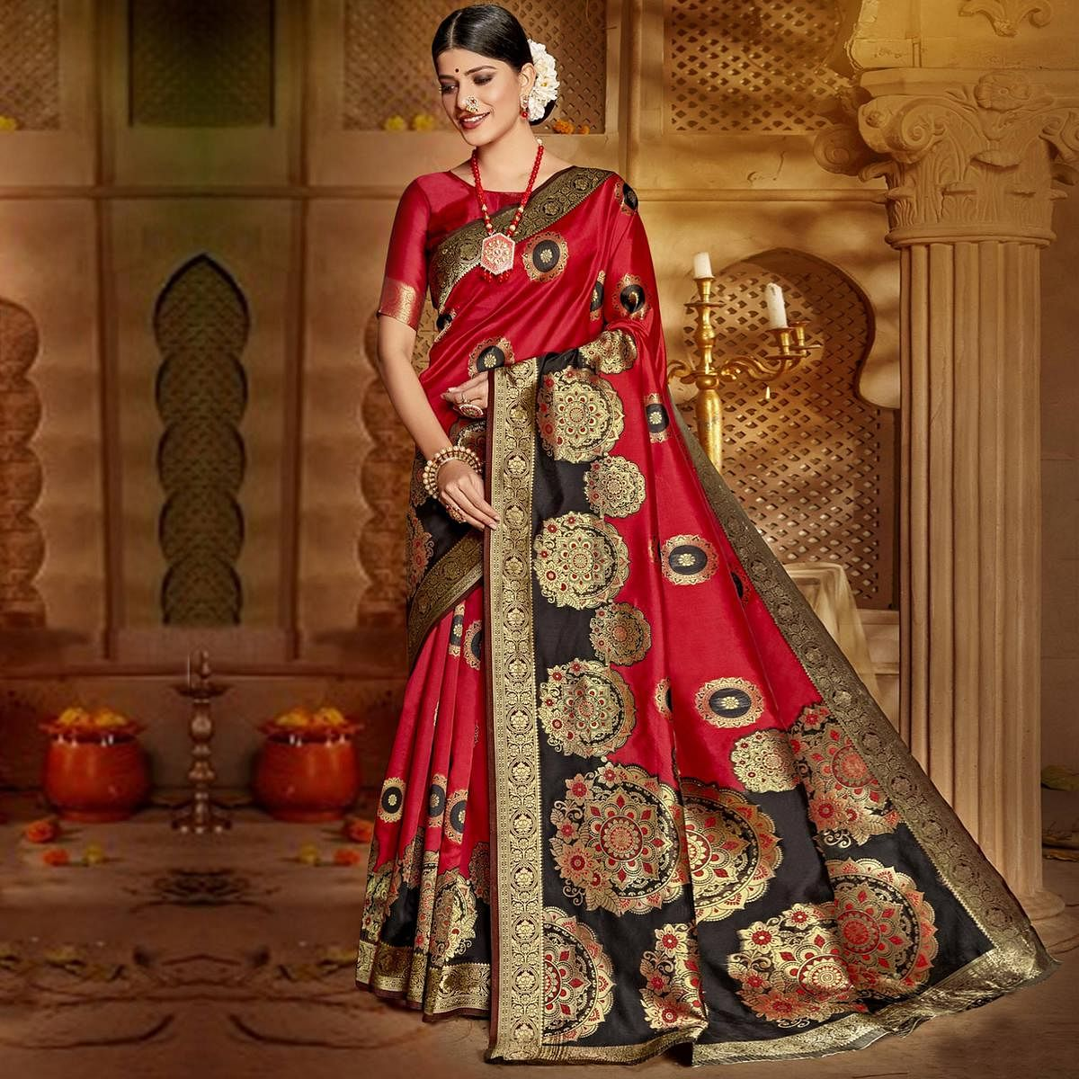 Triveni Red & Black Colored Jacquard Silk Party Wear Jacquard Woven Saree With Blouse Piece