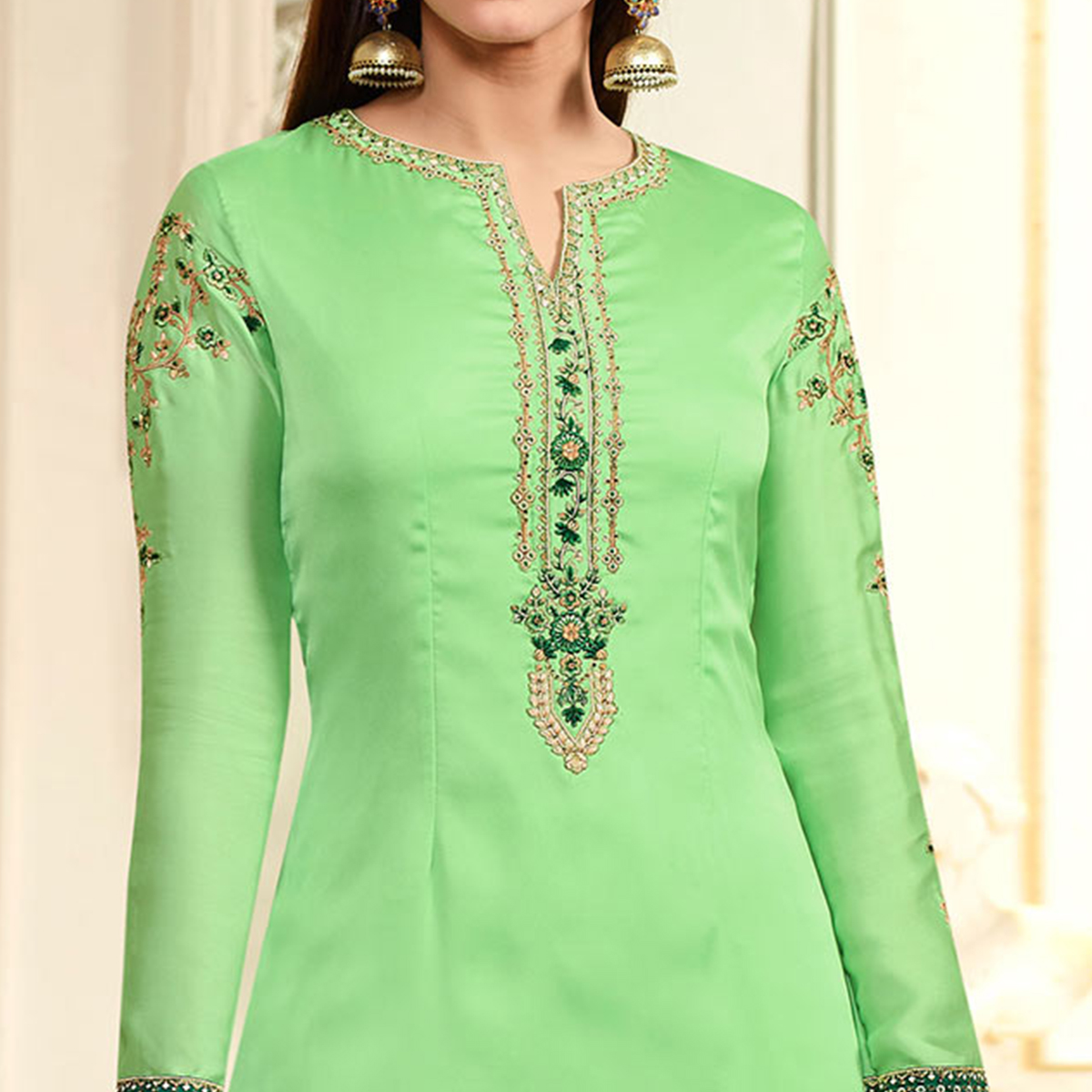 Light Green Embroidered Party Wear Georgette Salwar Suit