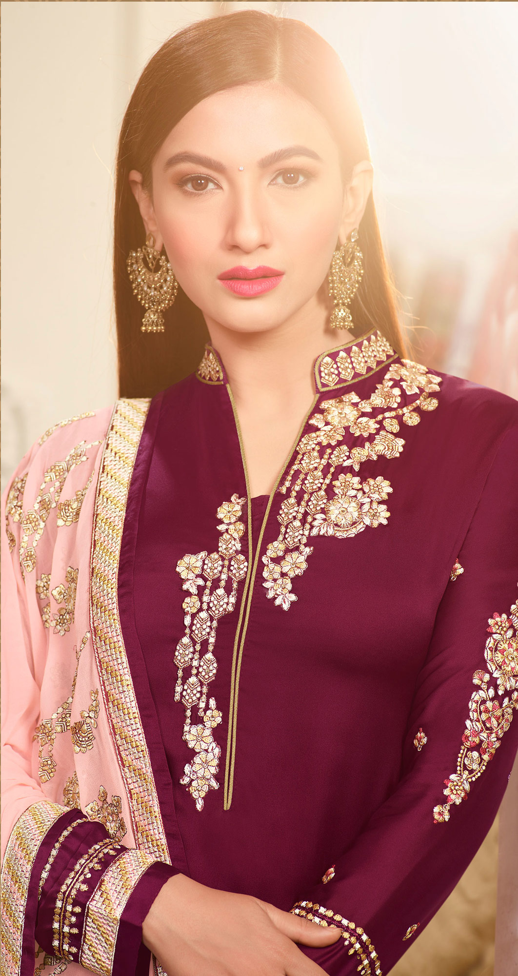 Maroon Embroidered Party Wear Georgette Salwar Suit