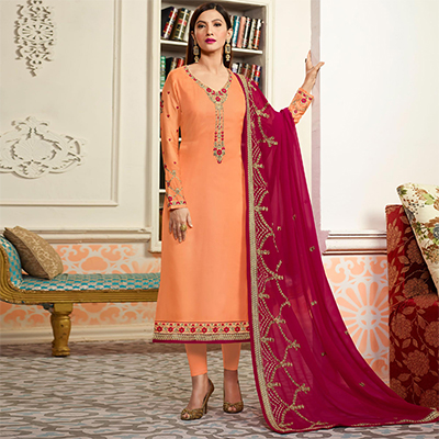Orange Embroidered Party Wear Georgette Salwar Suit