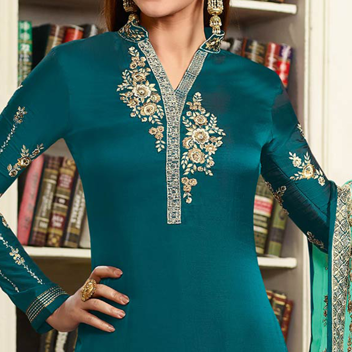 Teal Green Embroidered Party Wear Georgette Salwar Suit
