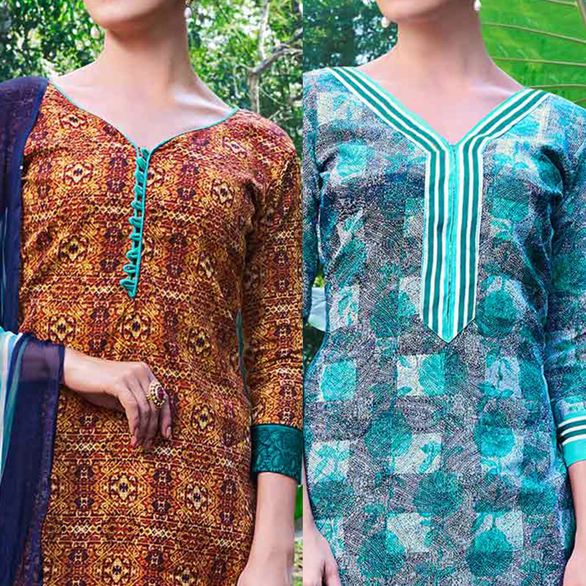 Orange And Blue Colored Dual Top Printed Soft Cotton Dress Material