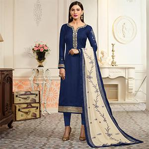 Blue Embroidered Party Wear Georgette Salwar Suit