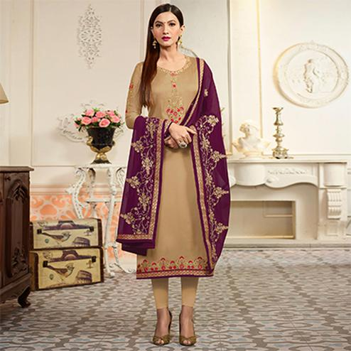 Beige Embroidered Party Wear Georgette Salwar Suit
