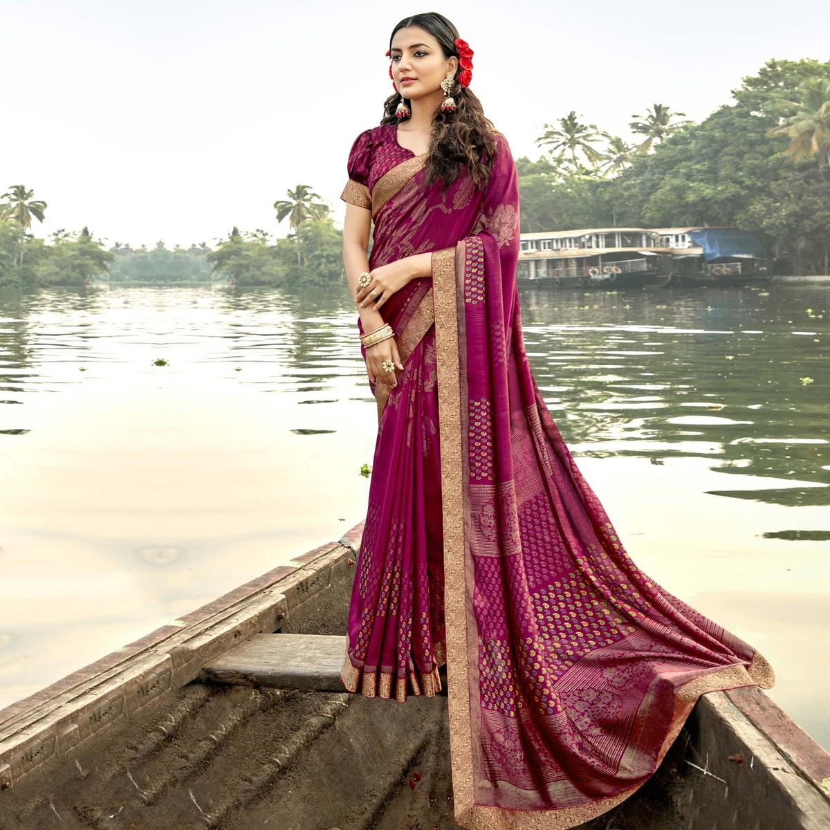 Triveni Magenta Colored Chanderi Silk Party Wear Floral Foil Printed Saree With Blouse Piece