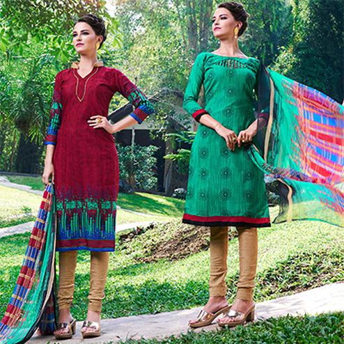 Maroon And Green Colored Dual Top Printed Soft Cotton Dress Material