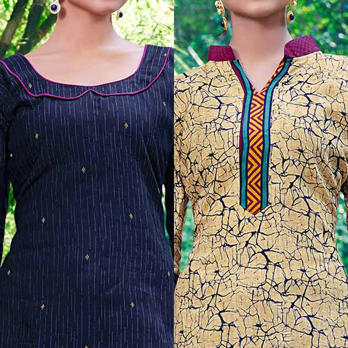 Navy Blue And Beige Colored Dual Top Printed Soft Cotton Dress Material