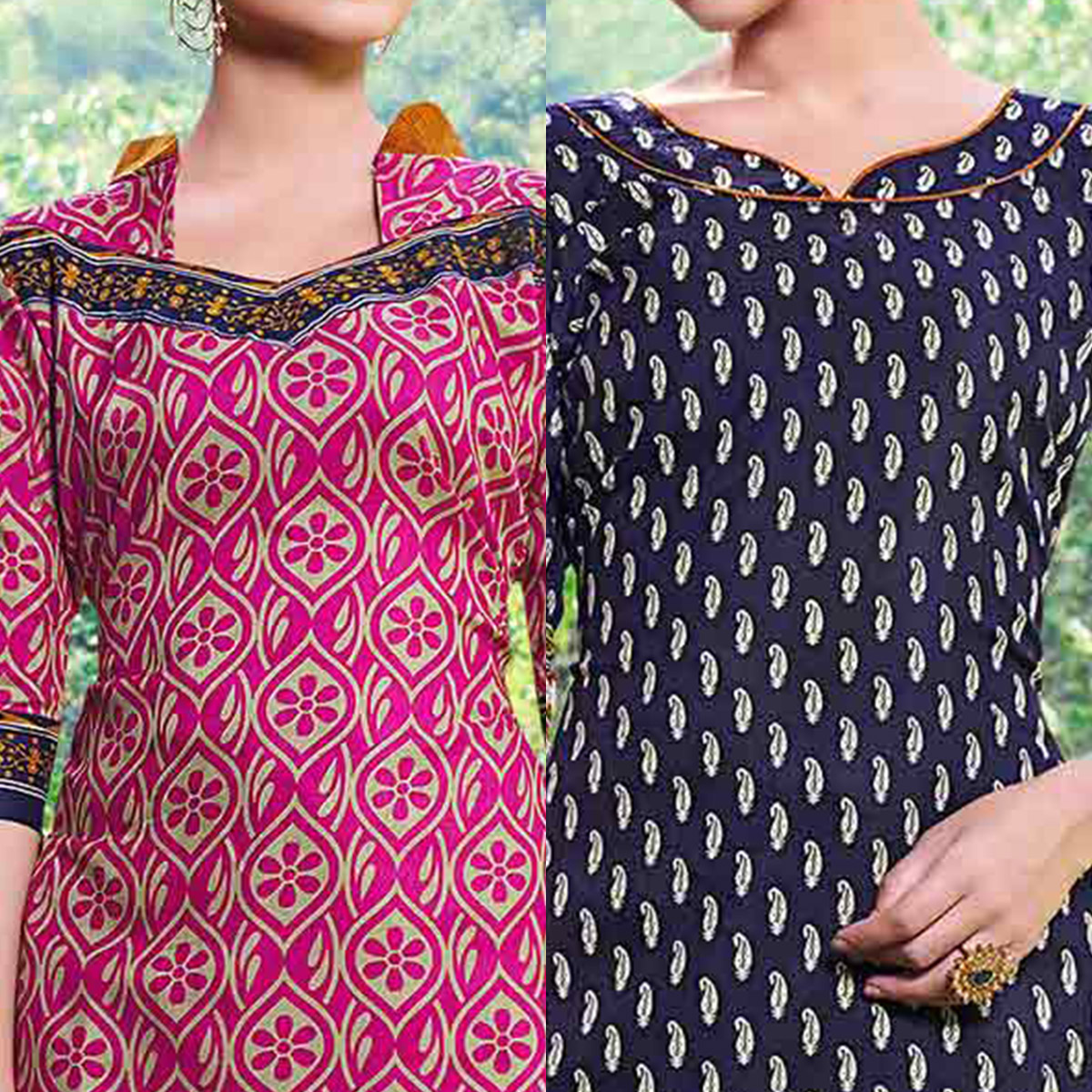 Pink And Blue Colored Dual Top Printed Soft Cotton Dress Material