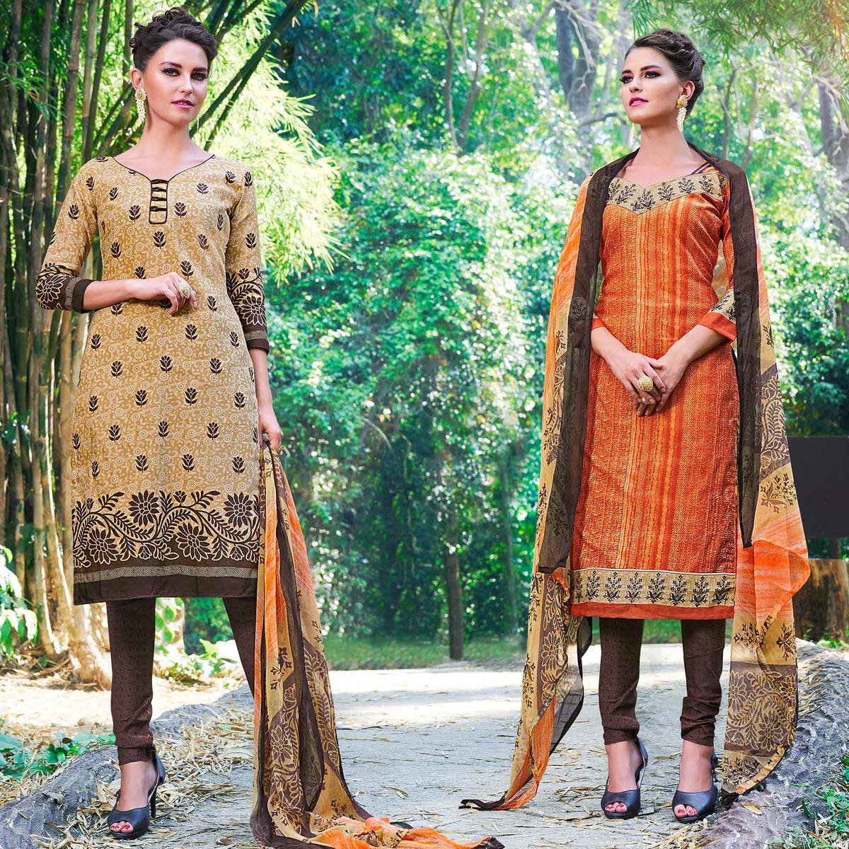Beige And Orange Colored Dual Top Printed Soft Cotton Dress Material