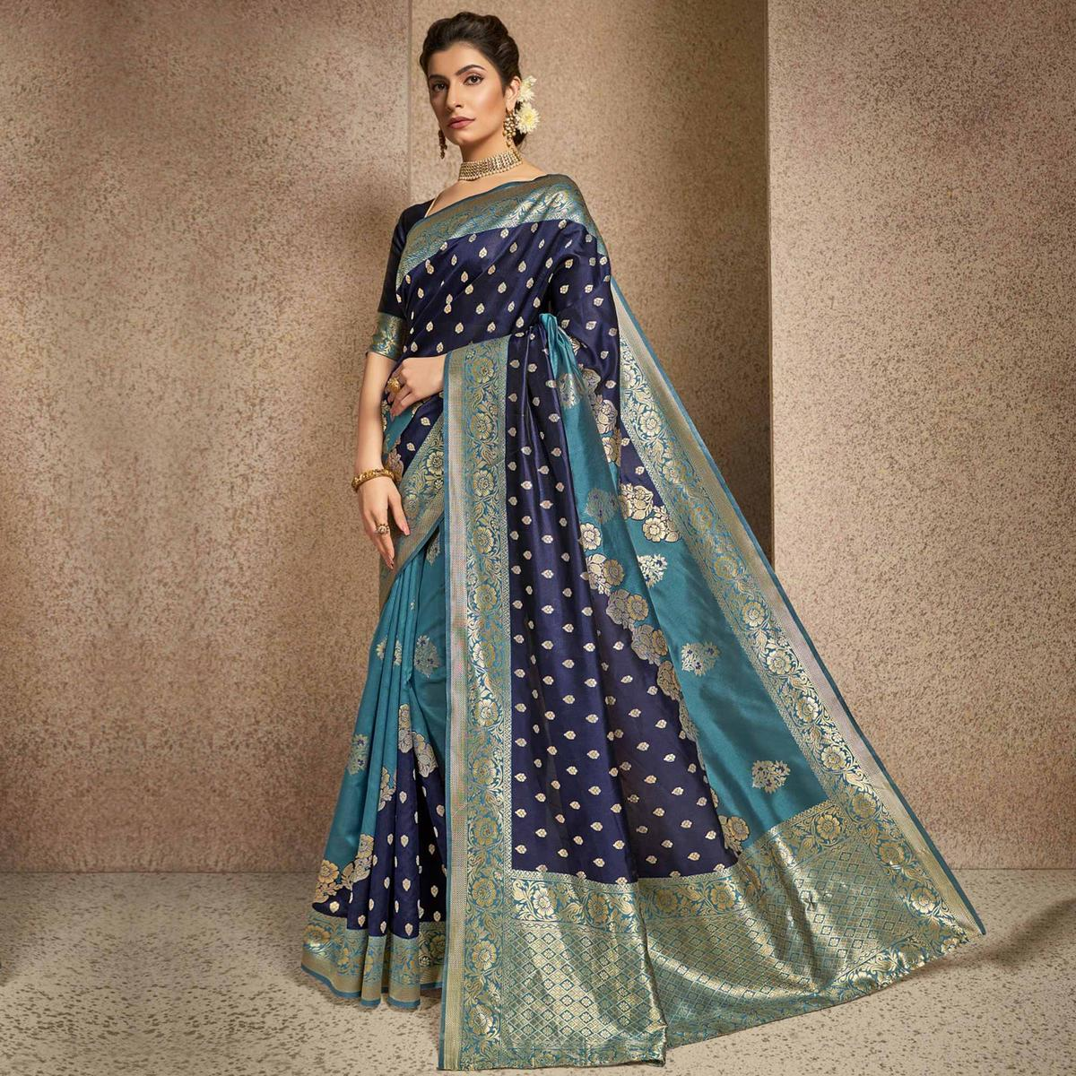 Triveni Navy Blue & Green Colored Jacquard Silk Party Wear Jacquard Woven Saree With Blouse Piece