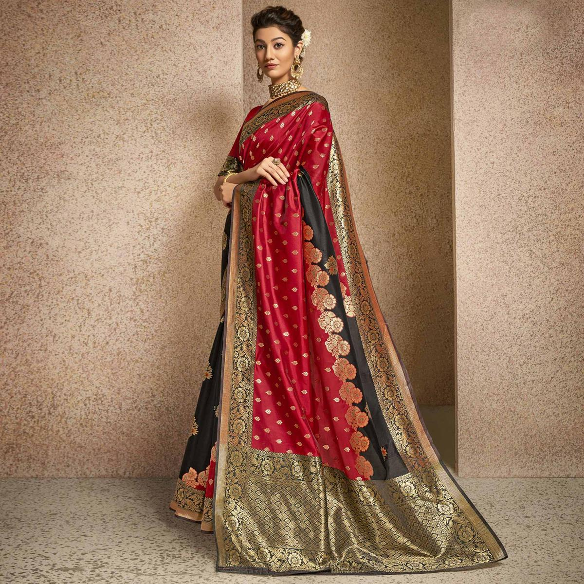 Triveni Black & Red Colored Jacquard Silk Party Wear Jacquard Woven Saree With Blouse Piece