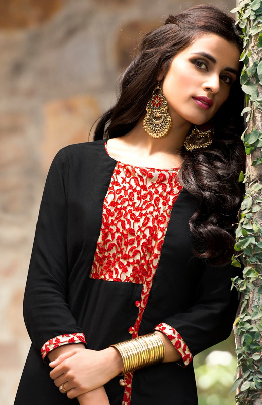 Black Fancy Cotton Kurti