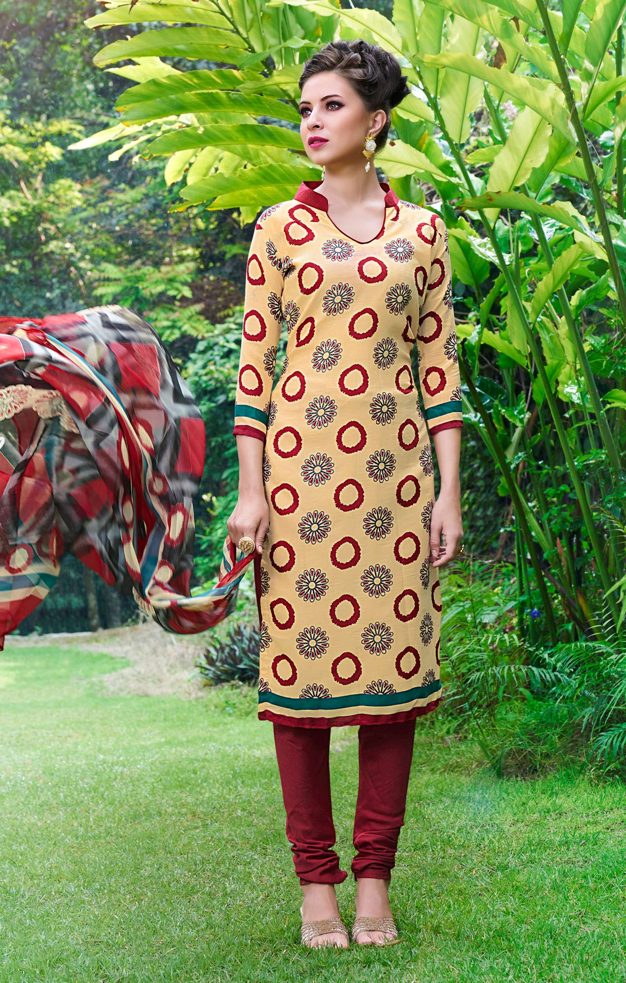 Beige And Grey Colored Dual Top Printed Soft Cotton Dress Material
