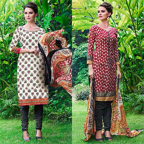 White And Red Colored Dual Top Printed Soft Cotton Dress Material