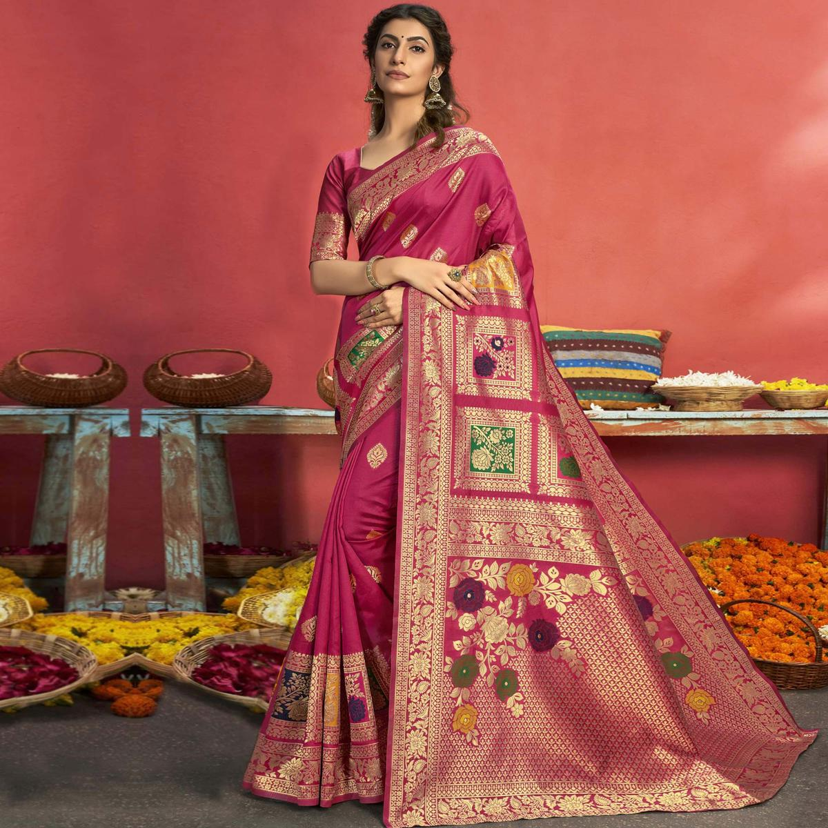 Triveni Pink Colored Art Silk Party Wear Jacquard Woven Saree With Blouse Piece