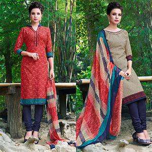 Red And Beige Colored Dual Top Printed Soft Cotton Dress Material