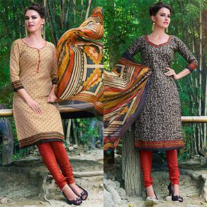 Beige And Black Colored Dual Top Printed Soft Cotton Dress Material
