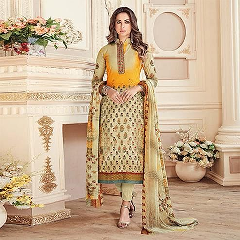 Lovely Beige Colored Designer Pure Cambric Cotton Suit