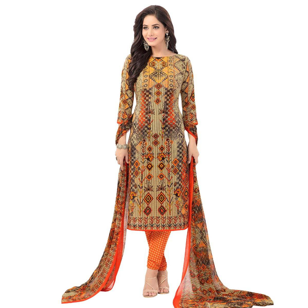 Mustard Yellow Casual Wear Printed Poly Crepe Dress Material