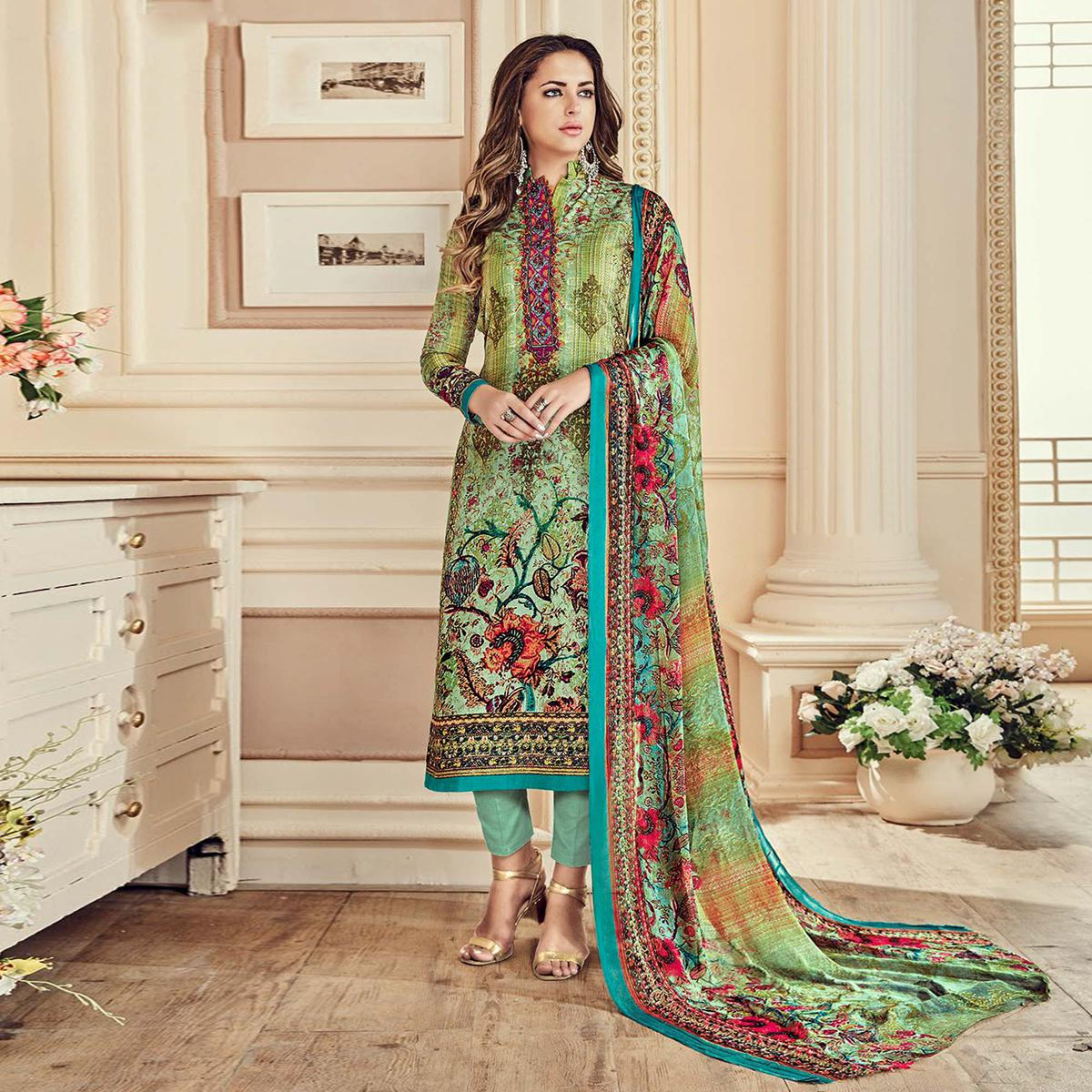 Classy Shaded Green Colored Designer Pure Cambric Cotton Suit