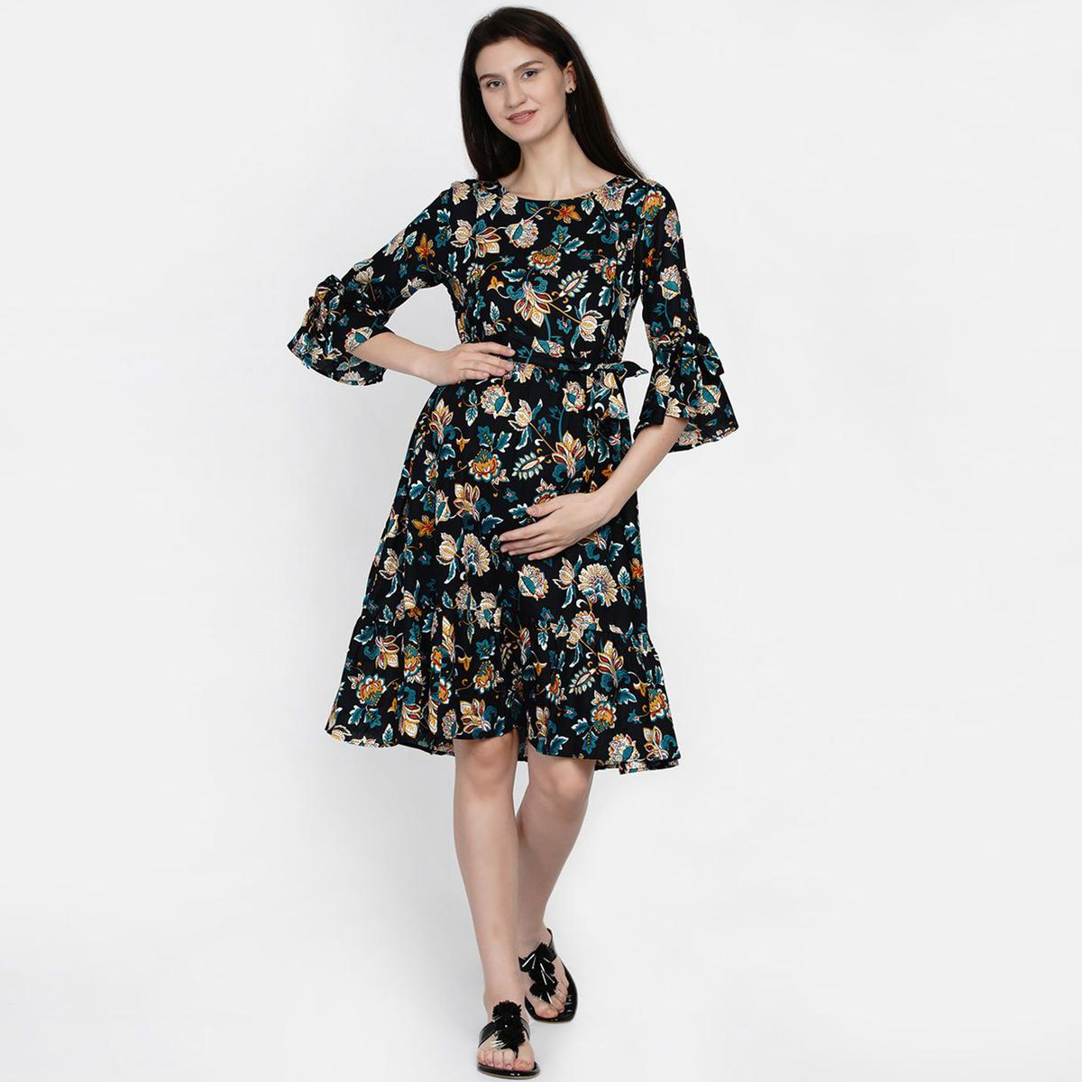 Mine4Nine - Day-after-Day Women's Navy multicolor Fit & flare Midi Rayon Maternity & Nursing Dress